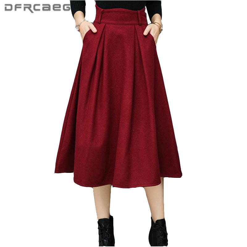 Warm Woolen Skirts Womens Winter 2017 Fashion High Waist Wool Pleated Skirt Mid Long Casual Ladies