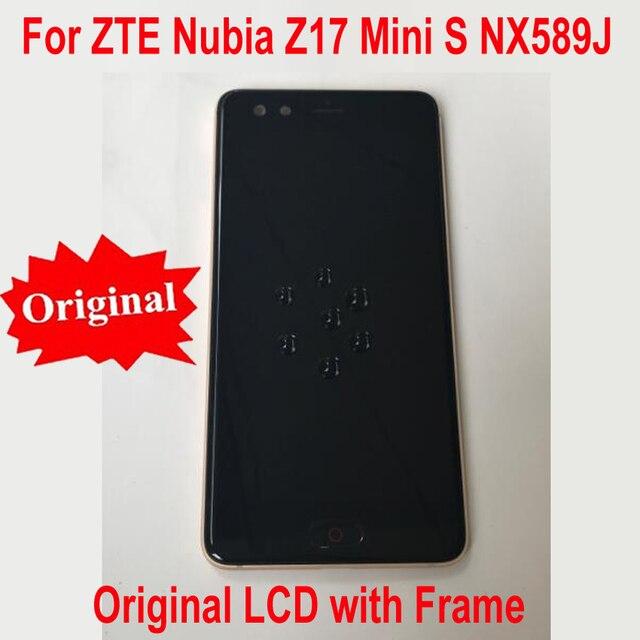 100% מקורי עבודה זכוכית LCD תצוגת מסך מגע Digitizer הרכבה חיישן עם מסגרת עבור ZTE נוביה z17mini S NX589J NX589H