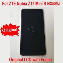 100% الأصلي العمل الزجاج شاشة الكريستال السائل مجموعة المحولات الرقمية لشاشة تعمل بلمس الاستشعار مع الإطار ل ZTE النوبة z17mini S NX589J NX589H