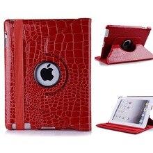 Crocodile en cuir PU cas pour iPad 4 iPad 3 iPad 2 avec 360 Degrés Tournant le Stand En Gros