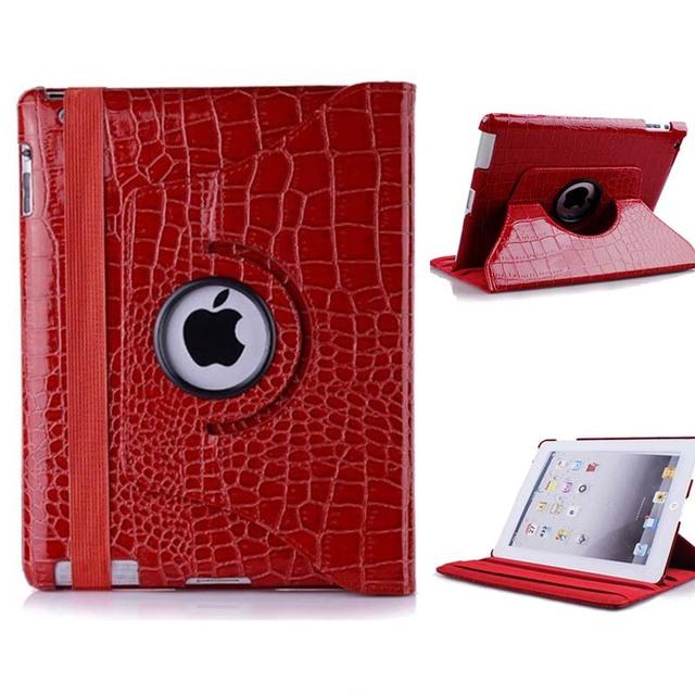 Crocodile leather PU case for iPad 4 iPad 3 iPad 2 with 360 Degrees Rotating Stand
