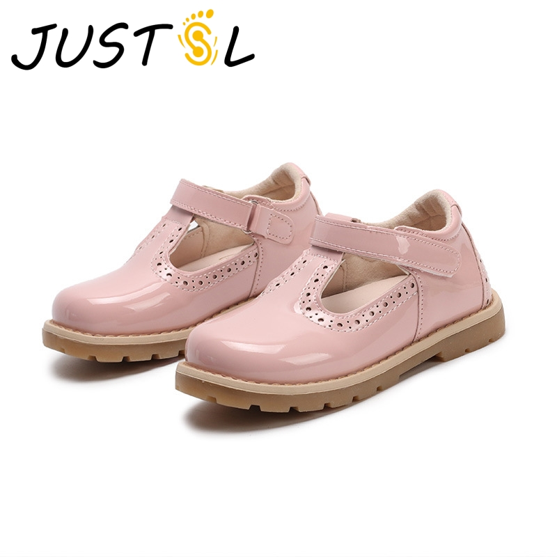 JUSTSL 2018 Spring New Girls Leather Princess Shoes Children British Retro Leather Shoes Kids Casual Toddler Shoes Size 21-30