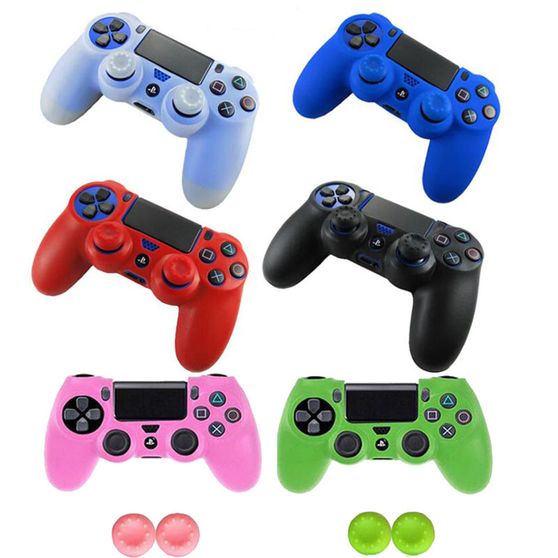 Rubber Gamepad Joystick Thumbstick Grip Cap Protective Skin Cover Case For Sony Playstation Dualshock 4 PS4 Slim Pro Controller(China)