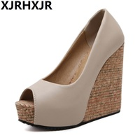 Brand Open Toe Women High Heels Wedges Platform Sandals Shoes Women Big Size 34 39 Summer Causal Pu Solid Black Apricot