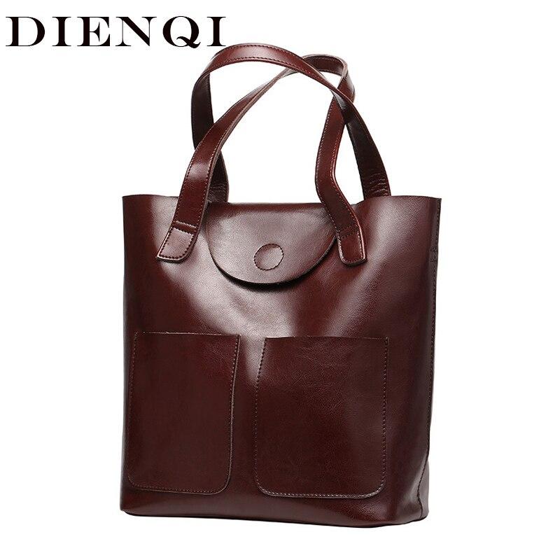 DIENQI Large Women Genuine Leather Shoulder Bags Female Big Handbags Fashion Office Retro Bag Ladies Hand