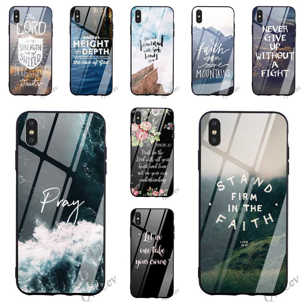 Hybrid Bible Verse Jesus Christ Tempered Glass Phone Case for iPhone 6S Plus Cover 8 XR X 7 6 5 5S SE Xs Max TPU image