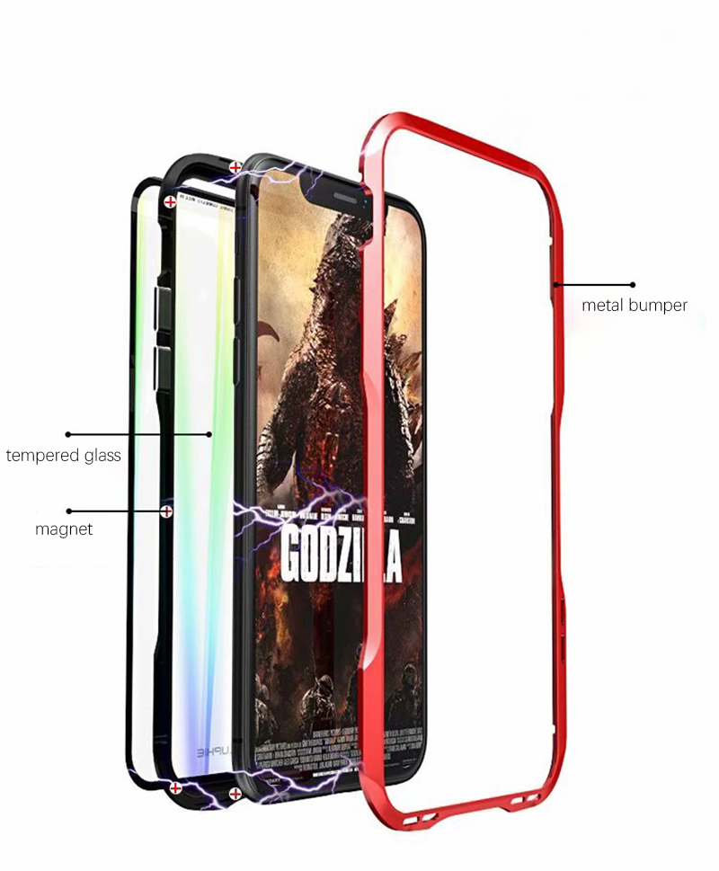 Luxury Magnetic Case For Apple iPhone XS Max Case coque Metal bumper cover For iPhone XR Case Transparent Aurora tempered glass  (3)