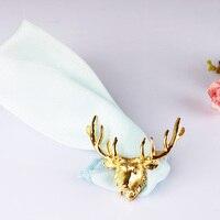 Golden Deer Napkin Ring Hotel Model Room, Golden Deer Head, Table Napkin, Western Food Ring Decoration, Napkin Ring