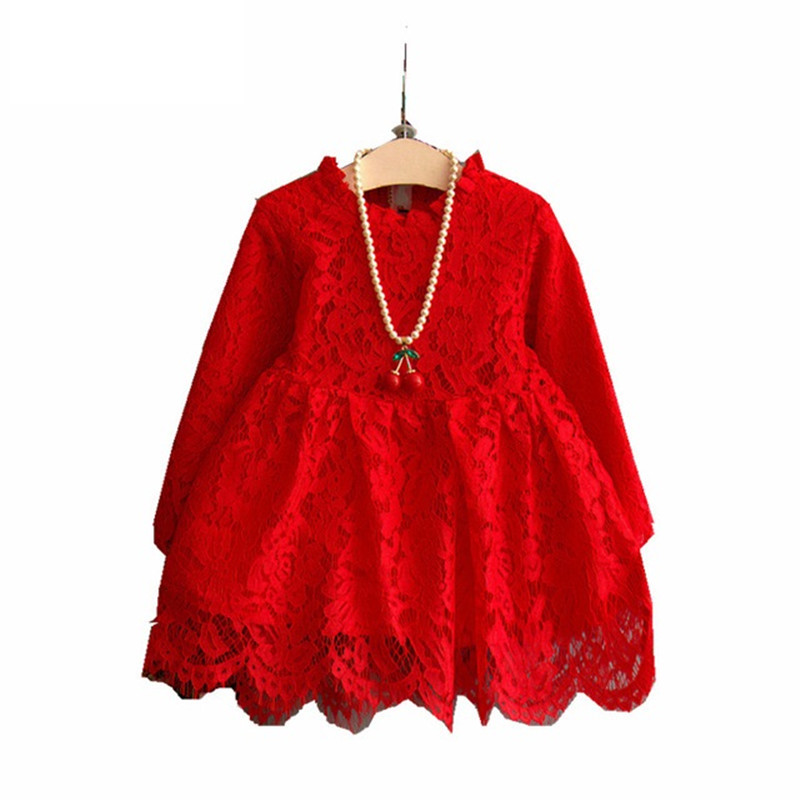 Spring Autumn Girl Lace Dress Clothes 2017 Kids Dresses For Girls Princess Party Wedding Long Sleeve Baby Girl Dress White,Red