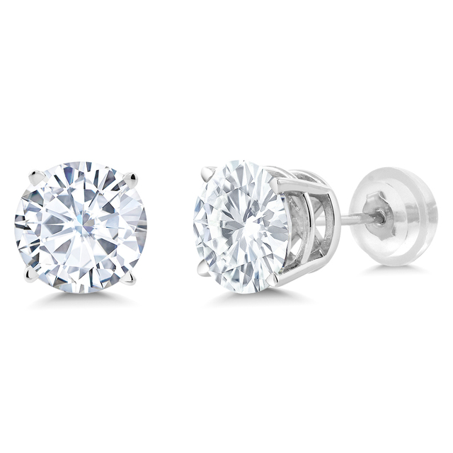 88ab73f41 GemStoneKing Charles Colvard Forever One Round Moissanite 7mm 2.25ctw Studs  14K White Gold Engagement For Marriage Earrings