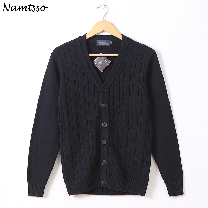 100% Cotton Knit Cardigan Men's 2018 Autumn Winter Long Sleeve Solid Color New V Neck Thin Sweater Brand Base Top Clothing 162