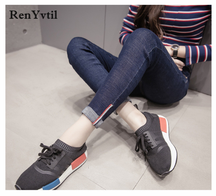 RenYvtil Spring Jeans for women With High Waist washed casual High Elastic ankle length Skinny woman