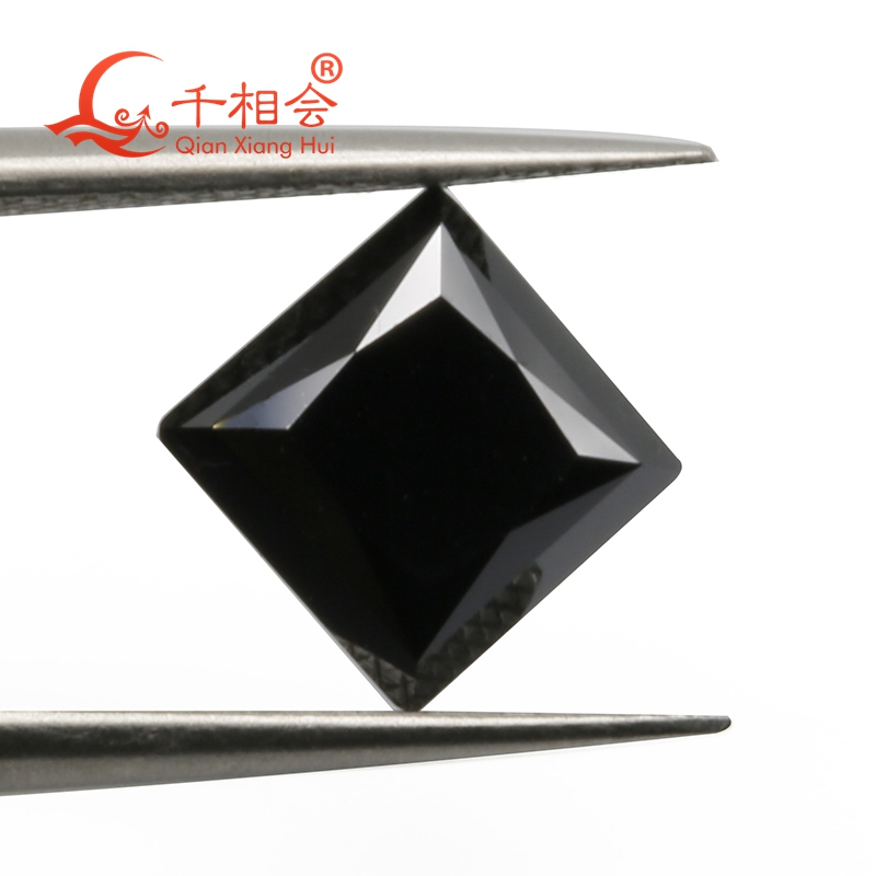Black color square shape princess cut moissanite loose stone