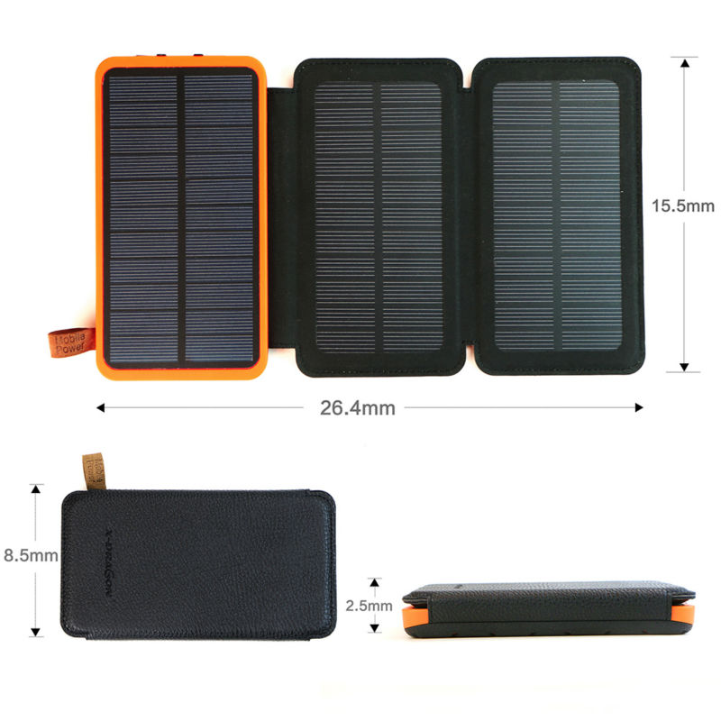 ELECTSHONG Solar Power Bank 10000mAh Rechargeable External Battery Foldable 4W Solar Panel Charger for iPhone Samsung HTC Sony