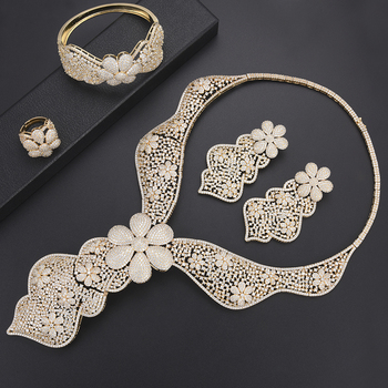 missvikki 4PCS European Christmas Holiday Gift Sweet Romantic Design Jewelry Sets Crystal Personality Luxury Stage Performance