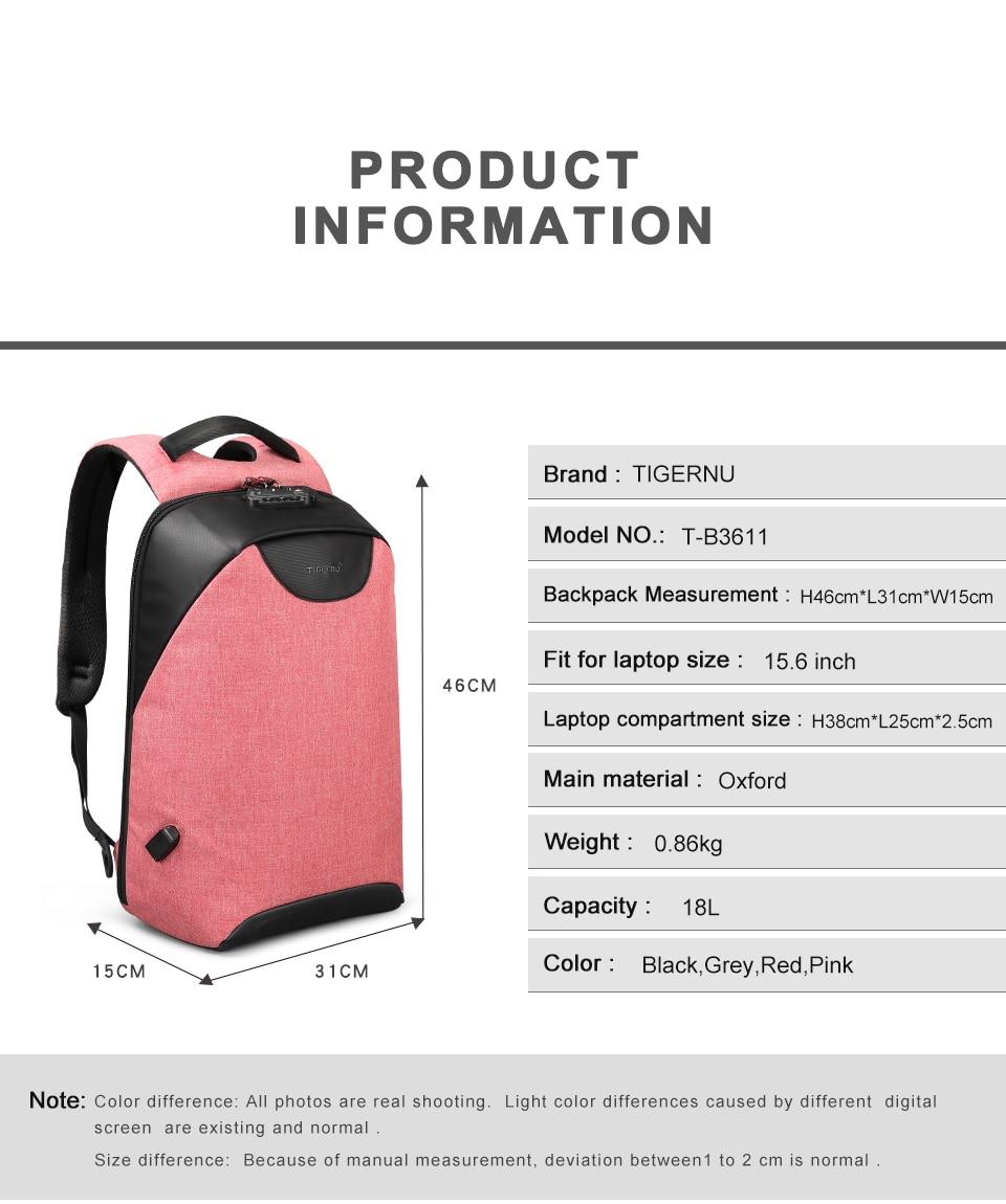 HTB1j6 XwDXYBeNkHFrdq6AiuVXaL Tigernu Women Anti Theft TSA Lock female Laptop Backpack USB Charge School Bag for Teenager girls Feminine Backpacks Bagpack