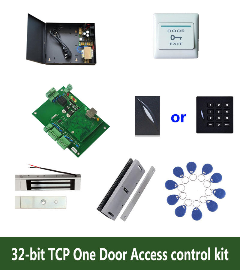 32-bit Access Control Kit,tcp One Door Access Control+powercase+180kg Magnetit Lock+u-bracket+id Reader+button+10 Tag,sn:kit-t04 Access Control Kits
