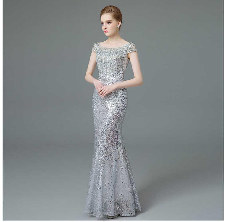 Кепки рукава со стразами и бисером вечернее платье es Длинные Роскошные  блесток Русалка Длинные вечернее платье 5ac4a92f0d07b