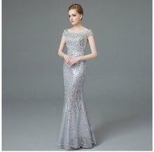 Cap Mouwen Strass Kralen Avondjurken Lange Luxe Sequin Mermaid Lange Avondjurk Golden & Silver Mermaid Formele Gown