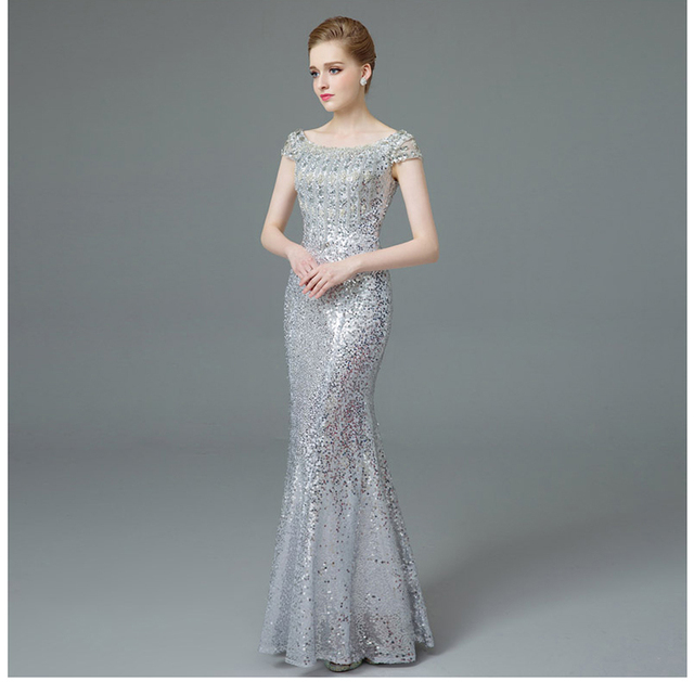 Cap sleeves rhinestone beading evening dresses long luxury Sequin Mermaid Long Evening Dress golden & silver mermaid formal gown