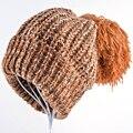 Мода gorros женские шапочки зимние шапки для женщин Вязаный шерстяной капот Негабаритных Hairball Заклинание цвет теплый Элегантность девушки шапочки