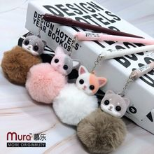 Cute Cartoon Cat Pendant Hair Ball Pen Creative Student Stationery Wholesale Plush Gel