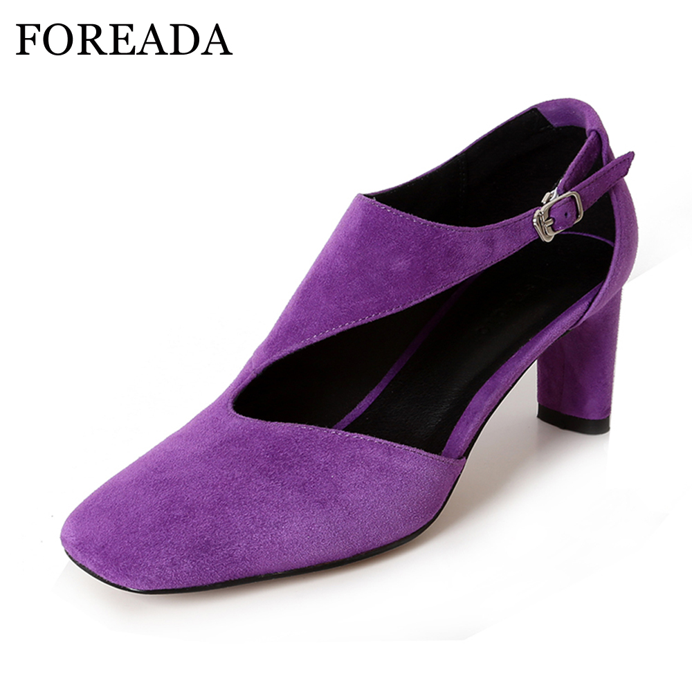 FOREADA High Heels Genuine leather Shoes Women Thick High Heels Pumps Cut Out Ladies Shoes Spring Square Toe Buckle Shoes Purple
