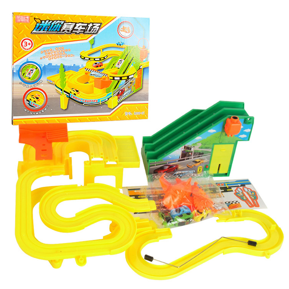 1pcs mini race track car toy assembly music light children puzzle electric train car racing