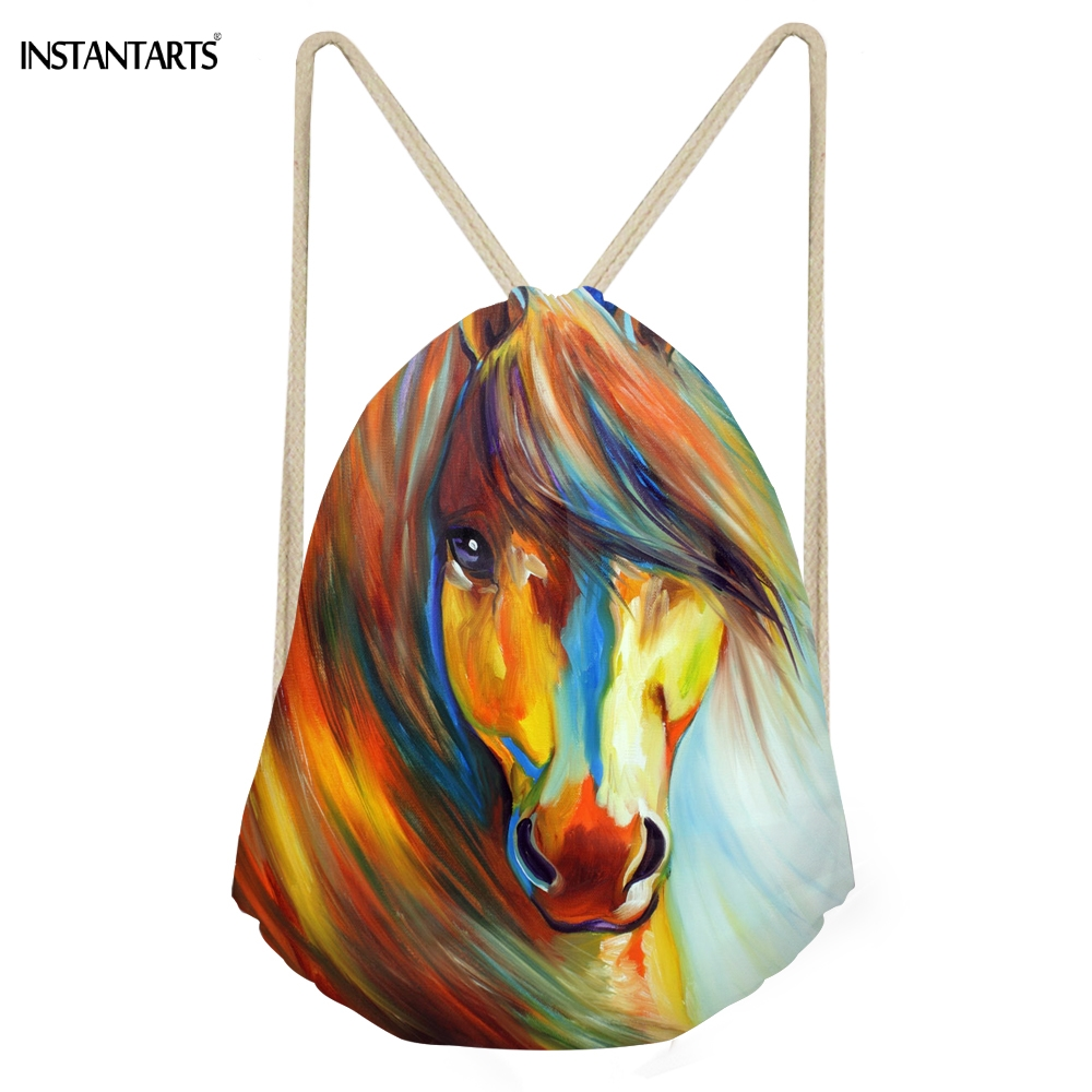 INSTANTARTS Colorful Painting Crazy Horse Print Women Men Drawstring Bags Boy Girl Basketball Storage Backpack Casual Beach Bag