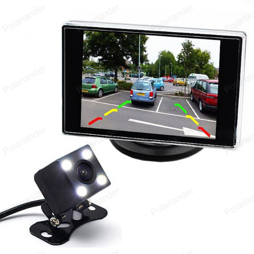 3,5 zoll Auto Monitor Rückfahr LCD TFT Display 2 video-eingang Bildschirm Mit 4 LED Nachtsicht Rückfahrkamera