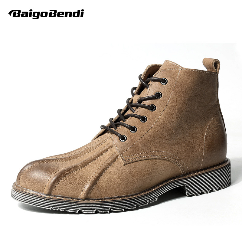 US Size Mens Genuine Leather Work And Safety Shell Toe Lace Up Ankle Boots Casual Winter Soliders Martin Ridding Boots