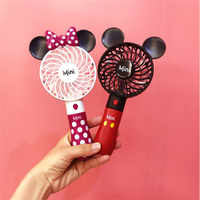 2019 Creative Outdoor portable cartoon cute Mickey USB fan Student mini handheld fan with lithium battery rechargeable