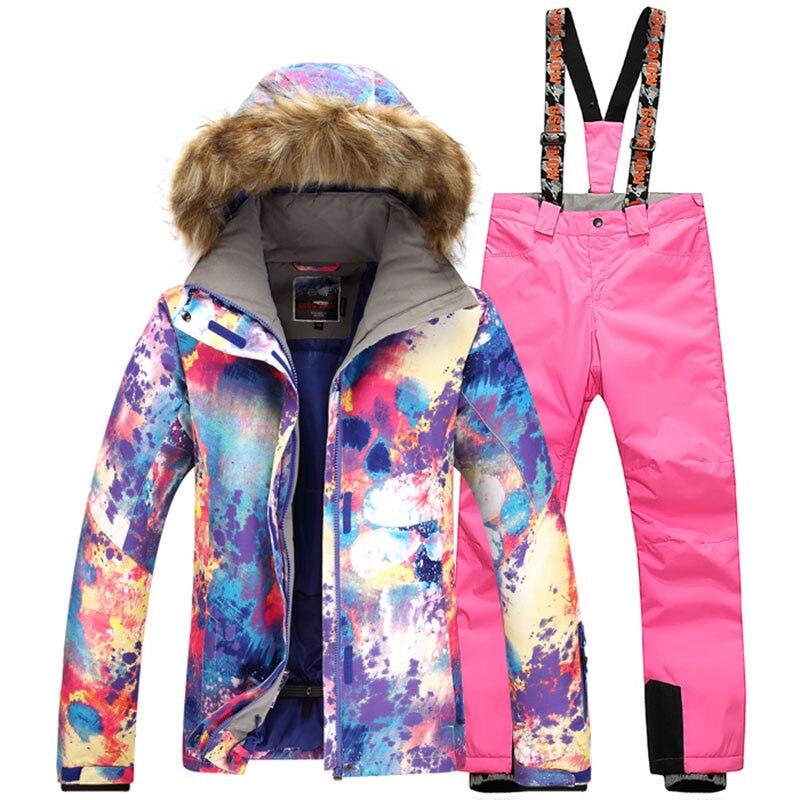 Doprava zdarma Gsou Sníh zimní lyžařské bundy oblek pro ženy sníh lyžování bunda kalhoty ženy Vodotěsný lyžařský oblek žena