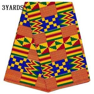 Image 2 - 3yards/lot african kenet kitenge wax print fabric real block print fabric 100% cotton nigerian new ankara fabric