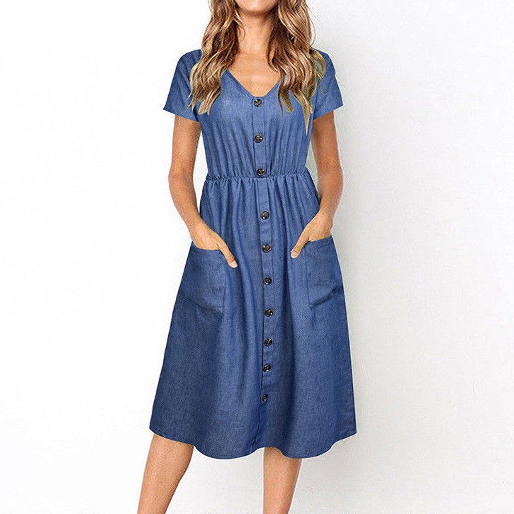 Summer Fashion Women's Dress Casual Solid Short Sleeve Button Pocket Decoration Denim V Neck Knee Length A Line Vestidos OY41*
