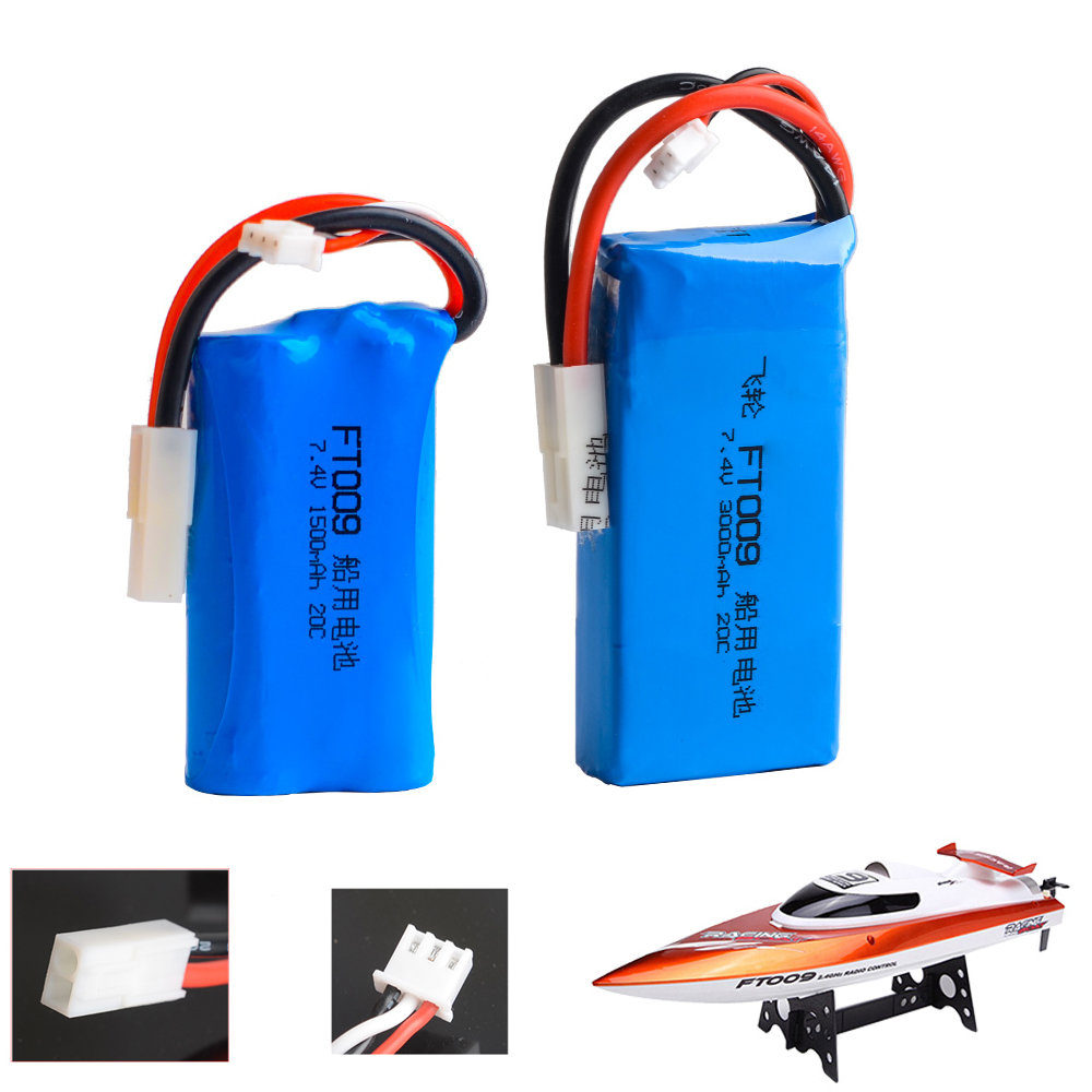 1pcs RC Lipo Battery 7.4V 1500mAh 3000mah Lipo battery For FT009 Remote Control Boat Speedboat Battery Lipo 2S EL2P SM T PLUG