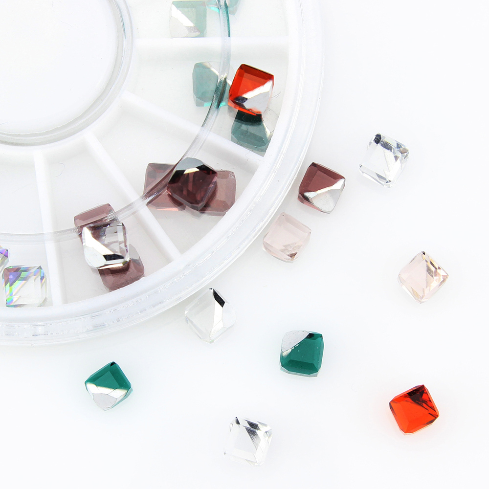 18 Pcs/Wheel 6 Color Red Green Brown Crystal Solid Cube DIY Nail Manicure Rhinestones Nails Charms 3D Nail Art Decorations ZP189