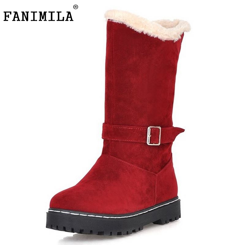 Size 34-39 Gladiator Snow Boots Women Flats Half Short Boot Ladies Warm Plush Winter Mid Calf Boots Footwear Shoes Woman double buckle cross straps mid calf boots