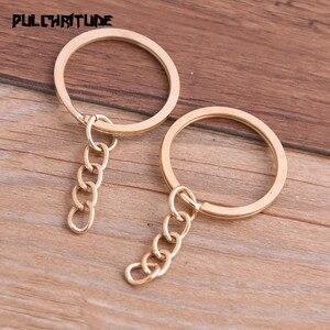Image 2 - Porte clés, 10 pièces, 4 couleurs, plaqué, 25mm de Long, rond, fendu, vente en gros