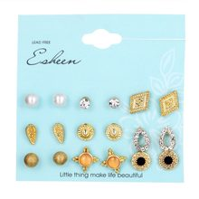 8Pairs/Set Crystal Simulated Pearl Earrings Sets Gold Color Opals Stud Earrings for Women Vintage Earrings Jewelry Brincos(China)