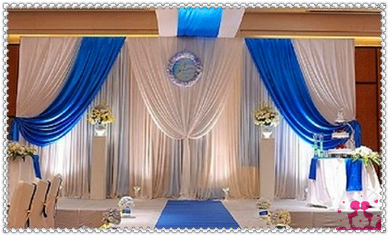 Stage Backdrop White And Blue 3x6m Curtains With