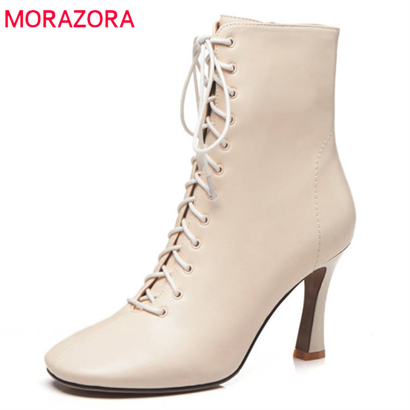 MORAZORA 2018 new fashion shoes woman square toe ankle boots for women zipper +lace up autumn winter shoes high heels boots morazora 2018 new arrival genuine leather ankle boots for women lace up zipper autumn boots fashion punk shoes woman black