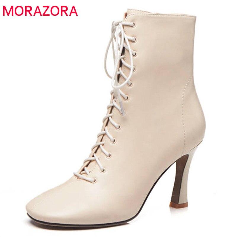 a2a469893 2018 Nueva Otoño negro Toe Para Mujer Moda Beige De Morazora Botines Encaje  Invierno Las Cremallera Zapatos Tacones Mujeres ...