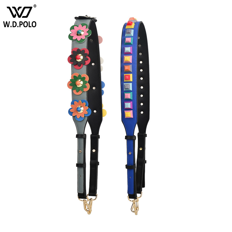 WDPOLO New Pu Leather Adjust Rivet Bags Strap Hot Sell Chic Shoulder Strap Accessories For Bag C548