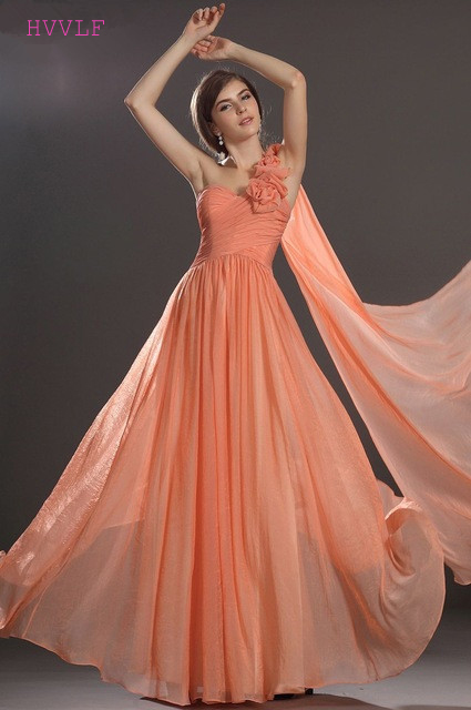 Orange 2019 Cheap Bridesmaid Dresses Under 50 A-line One-shoulder Chiffon Flowers Backless Long Wedding Party Dresses