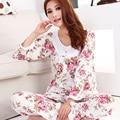 Новый 2016 мода стиль хлопка женщин пижамы/цветочные женщины pajama наборы с длинным рукавом элегантная дама Пижамы ночной рубашке пижамы