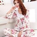Nueva manera del estilo 2016 algodón de las mujeres ropa de noche/floral mujeres pijama de manga larga de señora elegante Pijama camisón de dormir