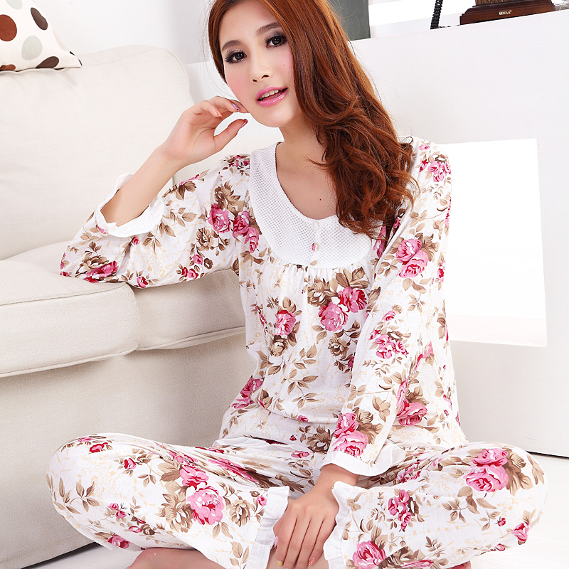 new 2016 fashion style cotton women sleepwear / floral women   pajama     sets   long-sleeve elegant lady   Pajamas   nightgown sleepwear