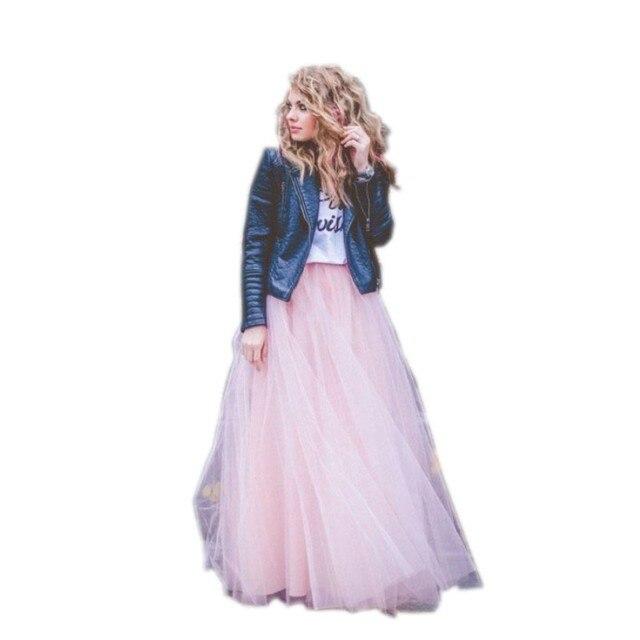 New Arrival Dreamlike Pink Skirts Floor Length Layered Tulle Long Skirt Maxi Skirt