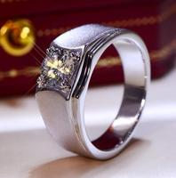 1CT Solid 925 Stelring Silver Wedding Engagement Anniversary Sona Ring Men Brithday Party Trendy Vintage Gift G color
